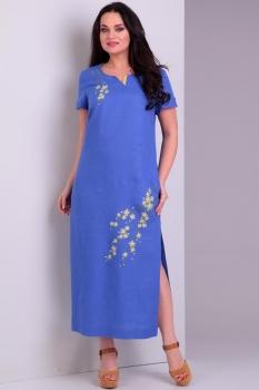 Платье Jurimex 1728-1 васильковый с цветной вышивкой