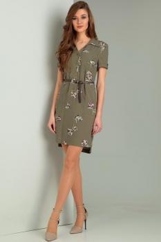 Платье Jurimex 1754 хаки с цветной вышивкой