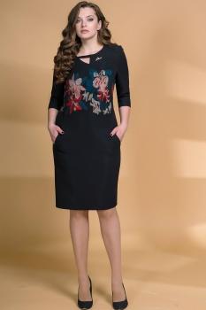 Платье Кокетка и К 473 черный+цветы