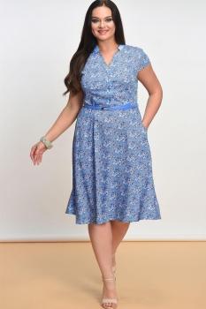 Платье Lady Style Classic 1101 Синий+цветочки