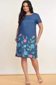 Платье Lady Style Classic 1339 Синий +голубые и розовые цветы