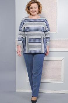Костюм Lady Style Classic 1358-1 Синий+серый