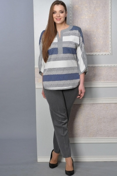 Костюм Lady Style Classic 1392-1 Серый+ синий