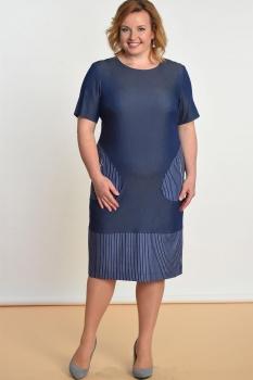 Платье Lady Style Classic 1482 Джинс+полоска
