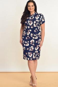 Платье Lady Style Classic 867 темно-синий в цветы