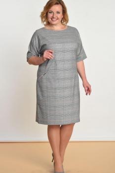 Платье Lady Style Classic 926-6 Серый+розовый,клетка