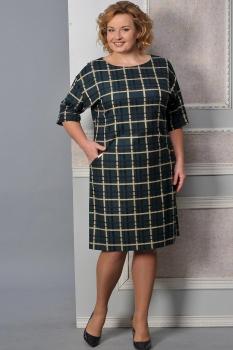 Платье Lady Style Classic 926-7 зеленая клетка