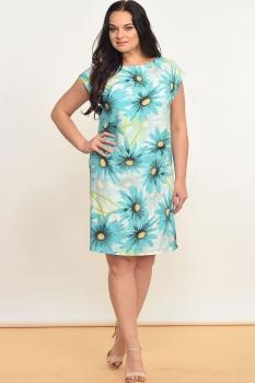Платье Lady Style Classic 935 Мятный+цветы и полоска