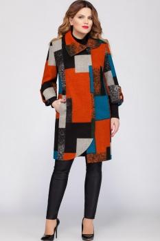 Пальто LaKona 1060-1 оранжевый с серым