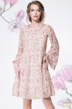 Платье LeNata 11886-5 пудра+мелкие цветы