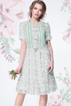 Платье LeNata 11892-4 цветочки на мятном фоне