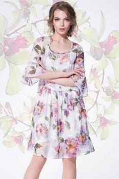 Платье LeNata 11893-3 нежно-фиолетовый+цветы