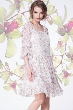 Платье LeNata 11893-5 мелкие цветочки на молочном
