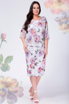 Платье LeNata 11897 сиреневые цветы