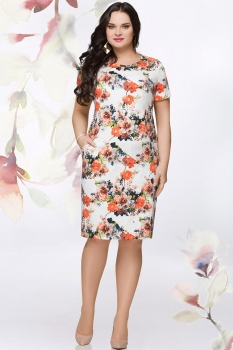 Платье LeNata 11906 оранжевые цветы