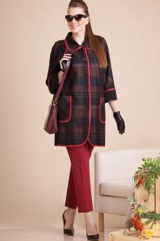 Пальто Лилиана 583 темные тона с красным