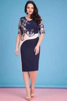 Платье Лилиана 605К-4 темно-синий+розовый