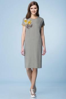 Платье Линия-Л 1635 хаки+горчица