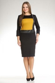 Платье Лиона-Стиль 385-1 черный с желтым