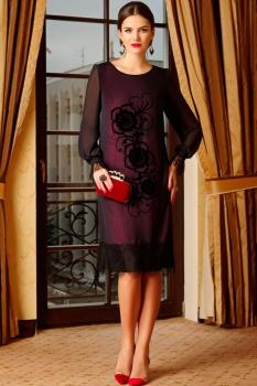 Платье Lissana 2990-1 с бордовым оттенком+темно-синий