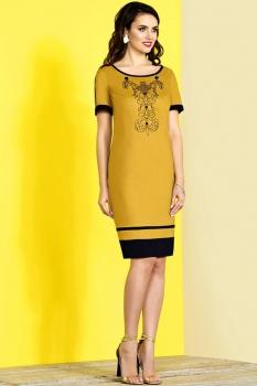 Платье Lissana 3101-7 горчица+синий
