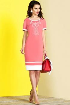 Платье Lissana 3101-8 коралл+белый