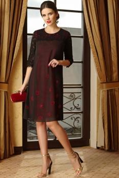 Платье Lissana 3253 черный+красный