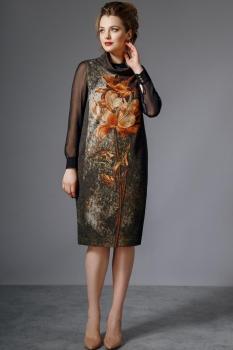 Платье Магия Моды 1292 чёрный с оранжевым