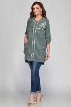 Блузка Matini 41084-2 полоски с серо-зеленым