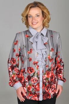 Блузка Медея и К 1822 красные цветы