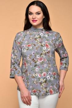 Блузка Медея и К 1913 серый цветы