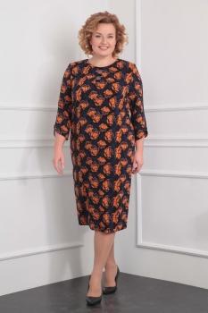 Платье Милана 909 тёмно-сине-чёрно-оранжевый