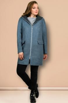 Пальто Мишель Стиль 633 серо-голубой