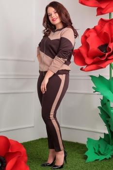 Костюм Мода-Юрс 2389-3 коричневый+бежевый