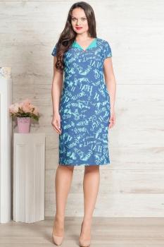 Платье Moda-Versal 1627-1 темно-синий+бирюза