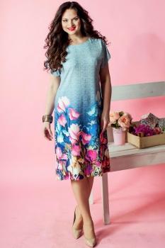 Платье Moda-Versal 1629 серо-голубой
