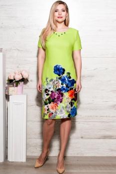 Платье Moda-Versal 1631 салат+цветы