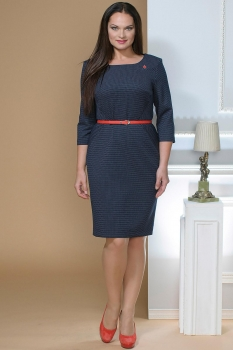 Платье Moda-Versal 1672-1 темно-синий в точку
