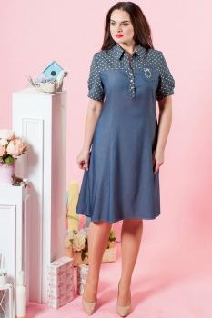 Платье Moda-Versal 1727 темно-синий+горохи