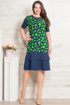 Платье Moda-Versal 1755 темно-синий+зеленый
