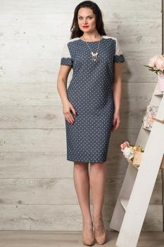 Платье Moda-Versal 1760 темно-синий+горохи