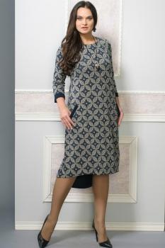 Платье Moda-Versal 1827 темно-синий+узоры