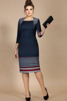 Платье Мублиз 177 Темно-синий+серый+бордо