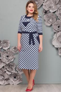 Платье Надин-Н 1491 синий с белым