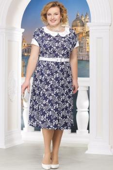 Платье Ninele 1215-16 синие-цветы