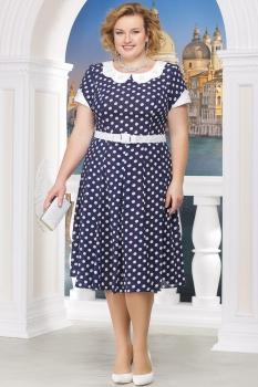 Платье Ninele 1215-18 синие-горохи