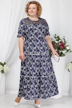 Платье Ninele 2151-1 синий+цветы