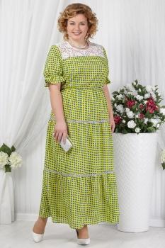 Платье Ninele 2151-3 салатовый+горохи