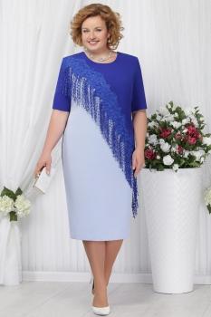 Платье Ninele 2152-1 голубой+василёк
