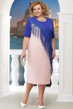 Платье Ninele 2152 пудра+васильковый